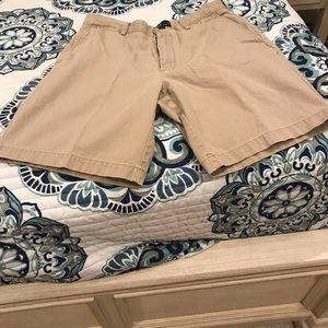 Men's Khaki shorts. Ralph Lauren Polo, flat front.